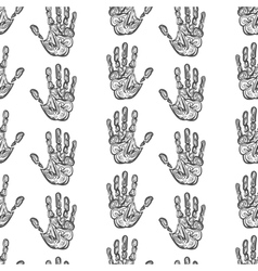 Hand drawn handprints seamless pattern vector image