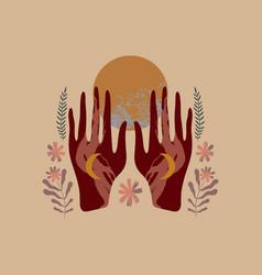 Hands hold full moon boho style art mystical vector