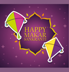 Happy makar sankranti emblem with kites style vector