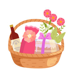 holiday present basket full gifts flowers and vector image