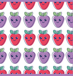 Kawaii nice happy strawberry background icon vector