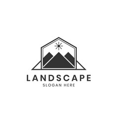 landscape mountain or hill logo design inspiration vector image