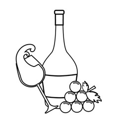 Line bottle of wine glass and grape vector