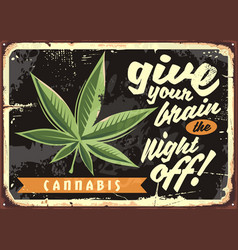 Marijuana leaf on old rusty plate vector