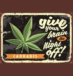 marijuana leaf on old rusty plate vector image