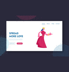 medieval royal person website landing page vector image