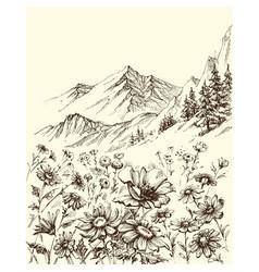 Mountain landscape flowers border sketch vector
