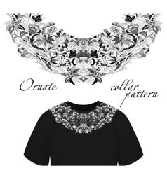 Neck print floral design Fashion white vector