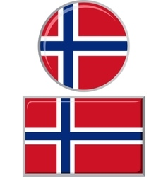 Norwegian round and square icon flag vector