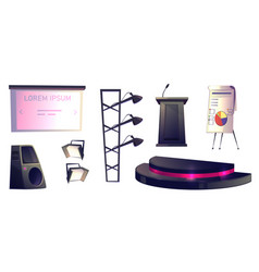 Objects for conference tribune stage and light vector