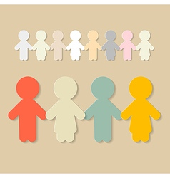 Paper People Holding Hands vector image