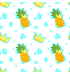 pattern with pineapple and crown vector image