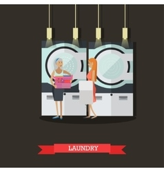 People in self-service laundry poster Room vector image