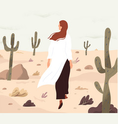 person feeling lost and alone wandering in desert vector image
