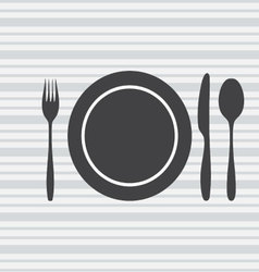 plate knife fork spoon vector image