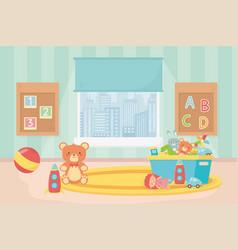 Playroom toys board numbers alphabet ball bear vector