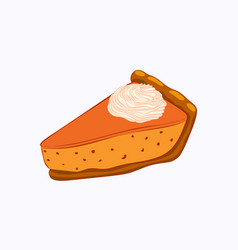 Pumpkin pie with whipped cream isolated on white vector