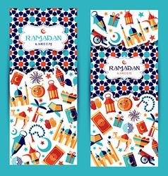 Ramadan kareem icons set vector