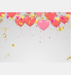 red and pink heart balloons isolated on vector image