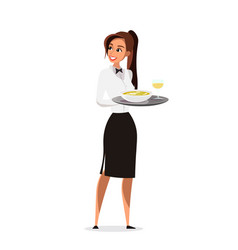 Restaurant waitress flat character vector