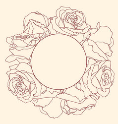 Round frame with linear graphic rose flowers vector