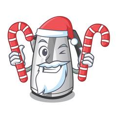 Santa with candy mascot cartoon household kitchen vector