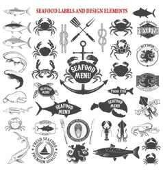 Seafood menu labels set design elements for logo vector