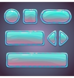 Set bright blue glossy buttons vector