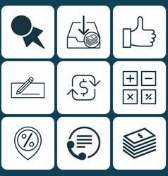 set of 9 e-commerce icons includes calculation vector image
