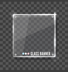 Shining glass banner on a grey background vector