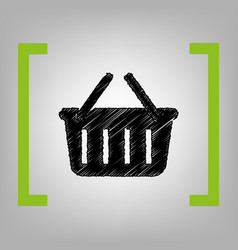 shopping basket sign black scribble icon vector image