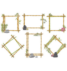 sketch bamboo frame with zen pebble set vector image