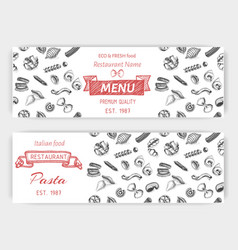sketch - pasta banner italian vector image