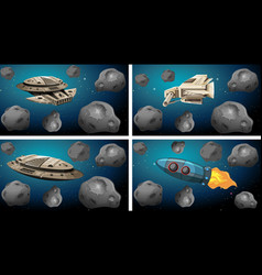 Space ships asteroid scenes vector