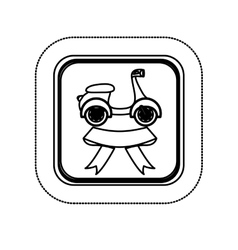 Sticker monochrome square with scooter and ribbon vector