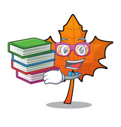 Student with book red maple leaf mascot cartoon vector