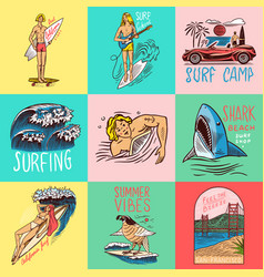 surf badge vintage surfer logo retro wave and vector image