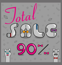 total sale ninety percents unusual font vector image