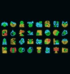 trade war icons set neon vector image