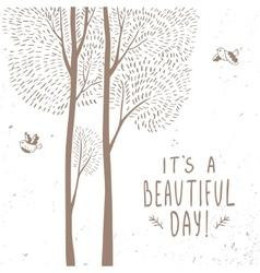 Trees beautiful card vector