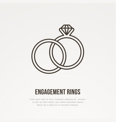 Two engagement rings with diamond vector