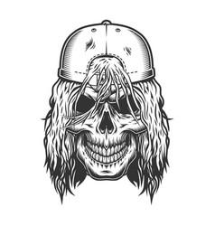 Vintage skull skateboarder template vector
