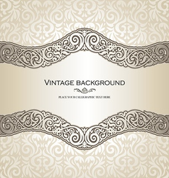 Vintage style cream invitation card vector