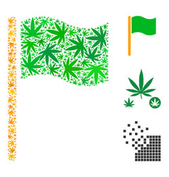 Waving flag mosaic of weed leaves vector