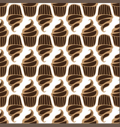 White cream choco cake seamless pattern vector