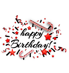 White happy birthday card with candy vector