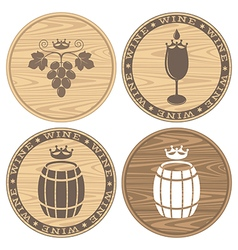 Wood barrels with wine Logo vector image