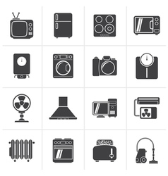 Black home appliances and electronics icons vector image vector image