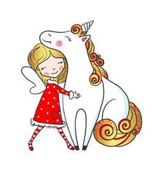 hand drawn cute fairy girl hugging unicorn vector image