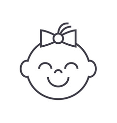 happy girl face line icon sign vector image